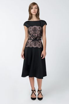 Neoprene and Lace Overlay A-Line Dress in Black / Pale Pink - Cocktail Dresses - Evening Shop | Tadashi Shoji