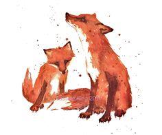 red fox art print via Etsy.