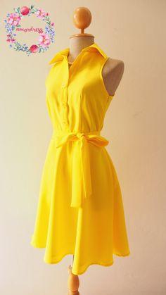 DOWNTOWN Yellow Sundress Club Dress Yellow Shirt Dress Yellow Bridesmaid Dress Casual Dress Inspired Vintage Style Party Dress, XS-XL,Custom