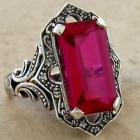 $54.99 Antique Victorian 6.50 Carat Ruby & White Topaz .925 Sterling Silver Ring. Ring Size 5-10 available