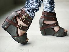 strappy steampunk shoes - riveting
