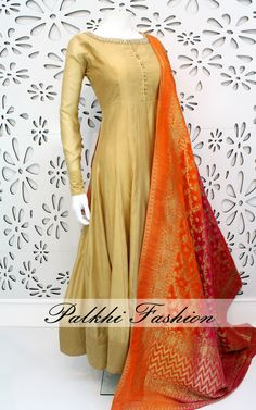 PalkhiFashion Exclusive Full Flair Beige Soft Silk Outfit with Elegant Handwork on Top.This amazing Outfit Comes with Attractive Banarasi Duppata.
