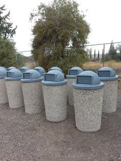 Exposed aggregate Trash Cans info@montechristostone.com #Montechristo #Stone #Montechristostone #Trashcan #Concrete #GRFC #California #Cement #Can #Bins