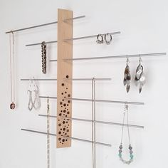 Wall Mount Jewelry Display / Jewelry holder / by Wooddesigndforyou
