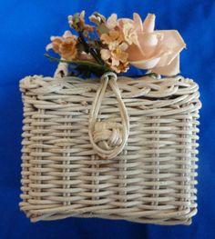 Vintage little girl's small wicker basket purse, 1950's.