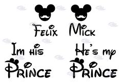 LGBT Gay I'm His Prince He's My Prince Mickey Mustache With Custom Names Matching Shirts