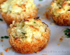 Parmesan-crusted crab cake bites (http://homeiswheretheboatis.wordpress.com/2012/12/19/parmesan-crusted-crab-cake-bites-and-a-winner/#)