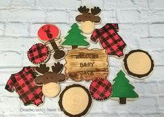 Lumberjack Baby Shower Cookies- Plaid - Moose - Grandma Linda's Sweet Tooth