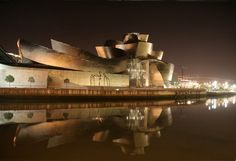 Guggenheim museum by night, Bilbao Spain