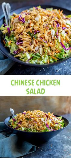 Healthy Chinese chicken salad is a joy to make! Prep it in advance for a DIY salad kit! The flavorful homemade Asian dressing takes this restaurant recipe to the next level! Green Veggies, Fruits And Veggies, Chicken Wraps, Asian Chicken, Pollo Buffalo, Fruit Plus, Chicken Salad Recipes, Couscous Recipes, Kale