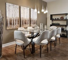 Sherwin Williams Dapper Tan SW6144 accent wall (with Macadamia SW6142 walls.) Dapper Tan for Dining Room.