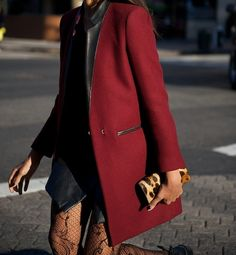 Black leather + red wool coat