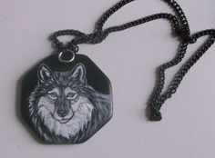 Gray Wolf Chain Necklace Hand Painted by daniellesoriginals, $19.00