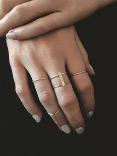 MINIMAL + CLASSIC: Shh Secret Page - double stacked line ring / vrai & oro