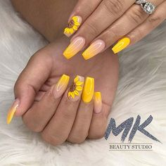 33 Newest Gel Spring Nail Art Designs Ideas Brighten Up Your Nail In 2020 - Spring means you can try many new things. - NailiDeasTrends - 33 Newest Gel Spring Nail Art Designs Ideas Brighten Up Your Nail In 2020 Spring means you can try - Acrylic Nails Yellow, Disney Acrylic Nails, Yellow Nail Art, Best Acrylic Nails, Acrylic Nail Designs, Neon Yellow, Acrylic Nails With Design, Gel Powder Nails, Gel Nails