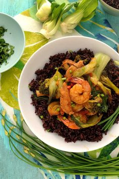 Chicken and Shrimp Stir-fry over Black Rice