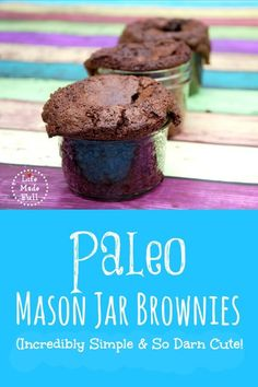 These Paleo Mason Jar Brownies are the perfect *adorable* treat to take on the go, or give as a gift! Really easy too!