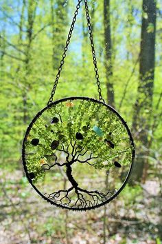 Generational Ancestry Family Suncatcher Tree of by Just4FunDesign #treeoflife #Peridot #Birthstone Wall Ornaments, Handmade Ornaments, Family Tree Generator, Sun Catchers, Tree Of Life Pendant, Wire Art, Inspirational Gifts, Bead Crafts, Gifts For Wife
