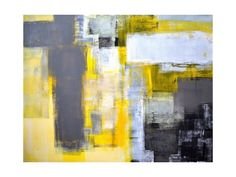 Grey and yellow abstract art painting , Posters and Prints at Art.com