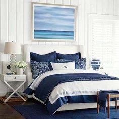 Arredamento bianco e blu estate 2016 - Camera da letto in stile marine