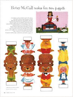 Kijkdoos - Goudlokje en de 3 beren Paper Puppets, Paper Toys, Book Crafts, Paper Crafts, Fairy Tale Crafts, Goldilocks And The Three Bears, 3 Bears, Paper Dolls Printable, Lalaloopsy