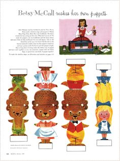 Printable vintage Goldilocks and the Three Bears puppets