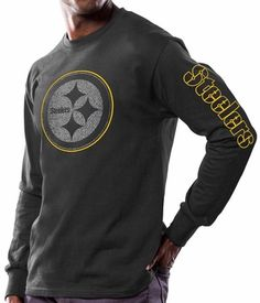 Pittsburgh Steelers Majestic Up & Over Long Sleeve Men's Black T-Shirt