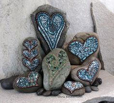Copper and Teal Mosaics on Rocks ~ Chris Emmert