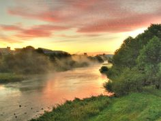 Foggy Sunrise over Svisloch River in Minsk, Minskaya_ West Belarus