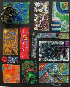 Experimental Acrylic Painting w/ Low Relief - Conway High School Art Project Art Club Projects, High School Art Projects, Art School, Sculpture Lessons, Sculpture Projects, Painting Lessons, Art Lessons, Painting Process, Experiment