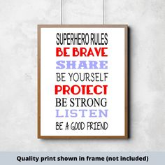 Superhero Rules Be Brave Share Be Yourself Protect Be Strong Listen Be a good friend,hand-painted wood sign for boys room, superhero sign Cute Wall Decor, Girl Decor, Sign Quotes, Wall Quotes, Do It Yourself Decorating, Scripture Signs, Bible Verses, Superhero Rules, Good Boy Quotes