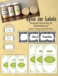 Free Spice Jar Labels ~    These Spice Jar Labels are  are fillable / editable printable PDF templates for printing on your laser and inkjet printers. There are several versions.    Downloads @:  http://blog.worldlabel.com/2012/spice-jar-labels-by-ink-tree-press.html