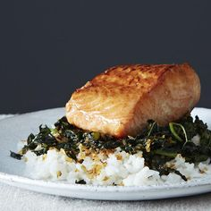 Crispy Coconut Kale with Roasted Salmon and Coconut Rice recipe: A fresh take on a hearty green. #food52