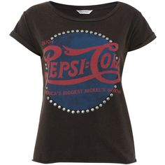 Miss Selfridge Pepsi Stud Crop Top ($21) ❤ liked on Polyvore featuring tops, t-shirts, shirts, grey, crop shirts, studded crop top, t shirts, studded shirt and crop t shirt