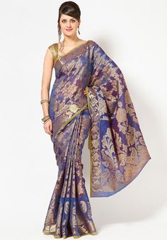Bunkar-Organza-Silk-Blue-Banarasi--Saree.-