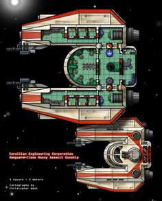 Another of my original starship designs, the Vanguard-class Heavy Assault Gunship. This ship has room for a much larger crew than it should need, but I wanted it to also function as the personal starship for a Star wars adventuring group. Rpg Star Wars, Nave Star Wars, Star Wars Ships, Spaceship Art, Spaceship Design, Cyberpunk, Starwars, Galaxy Map, Ship Map