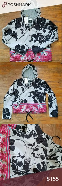 Bogner athleisure jacket size small So pretty with multiple floral patterns. The black floral fades out with a lighter appearance, as shown in picture 3. This is a thinner wind breaker type jacket. Thinner construction. Material indicated in photos. Brand new, never been worn. EU 36, US size 6 and also indicated as a Small. For reference, I am a 4 and it fits but loosely. Let me know if you have any questions. Bogner Jackets & Coats