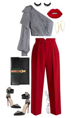 """""""Untitled #178"""" by missreddy on Polyvore featuring Zimmermann, RED Valentino, Gucci, Lime Crime, Christian Louboutin and Lana"""