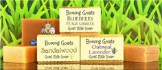 """Goat Milk Soap """"Half size bars"""". Half the size... all the goodness.  The perfect size for sampling (when you can't make up your mind), travel (never leave home without your goat milk goodness), gifts (I know you know someone that can use a bath) and people with small hands (for those that keep dropping our regular bars)."""