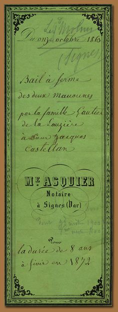 Bail à ferme.French legal document cover, 1872.    Quite a flamboyant spring green for such somber subject matter.    Rather twirly trim, too.