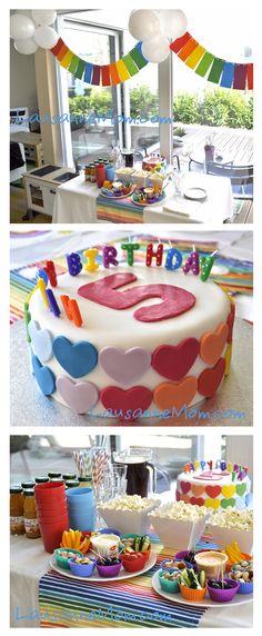 rainbow party, rainbow hearts cake
