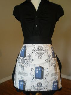 Dr Who Tardis half apron by HauteMessThreads on Etsy, $36.00