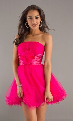 Cute Poofy A Line Skirt Fuchsia Homecoming Party Dress Strapless $108.99