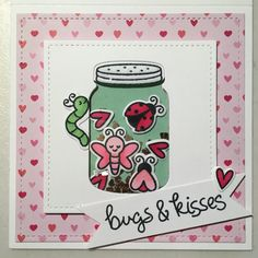 Valentines Day shaker card using Lawn Fawn Bugs & Kisses // Handmade by Harris Homemade