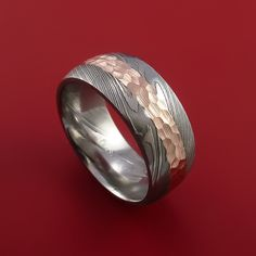 Damascus Steel 14K Rose Gold Ring Wedding Band Custom Made Hammer Finish