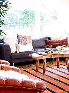 Coffee table and sofa in desert-styled living room