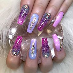 Shades of purple nail art | Coffin nails, nail art design |with rhinestones | instagram (@glamour_chic_beauty)