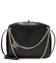 Chains & Charms Leather Box Crossbody by Alexander McQueen at Gilt Leather Box, Calf Leather, Leather Purses, Leather Shoulder Bag, Leather Handbags, Black Leather, Miss X, Alexander Mcqueen Handbags, Rockn Roll
