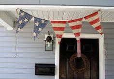 AMERICAN FLAG Burlap bunting banner Red White by HerBeautifulLife, via Etsy.