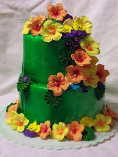 Hibiscus Cake - Royal Icing flowers, on colored fondant